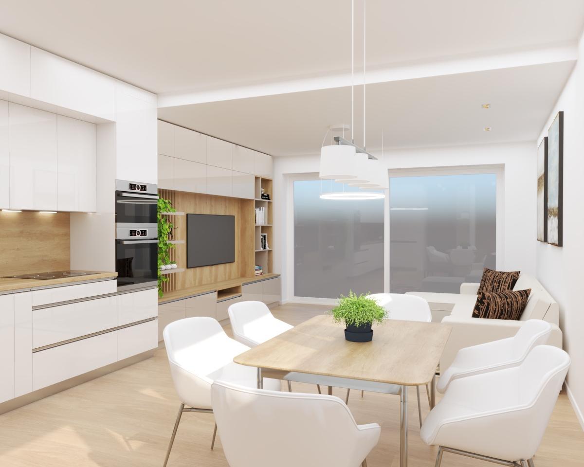Grafické návrhy bytov a domov - Grafický návrh kuchyne spojenej s obývačkou a vstupnej chodby do rodinného domu v BA - obr.2