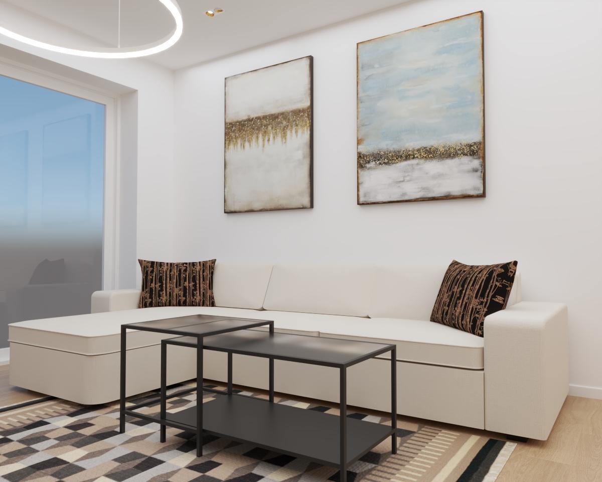 Grafické návrhy bytov a domov - Grafický návrh kuchyne spojenej s obývačkou a vstupnej chodby do rodinného domu v BA - obr.4
