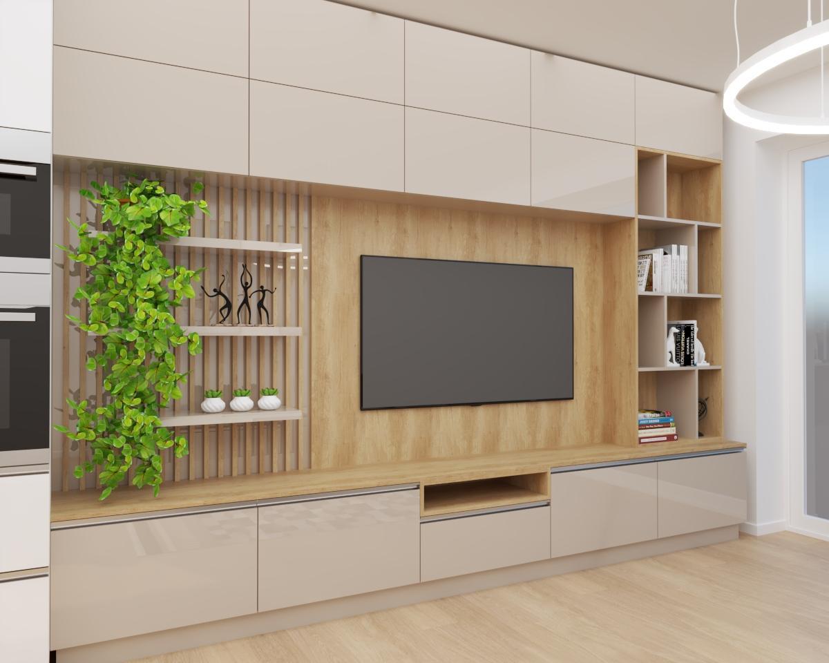 Grafické návrhy bytov a domov - Grafický návrh kuchyne spojenej s obývačkou a vstupnej chodby do rodinného domu v BA - obr.3