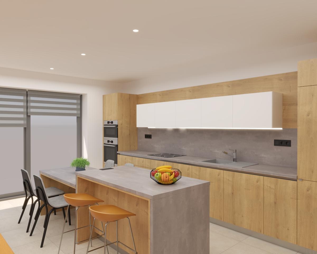 Grafické návrhy kuchynských liniek 2021 - Grafický návrh kuchyne spojenej s obývačkou v rodinnom dome-obr.1