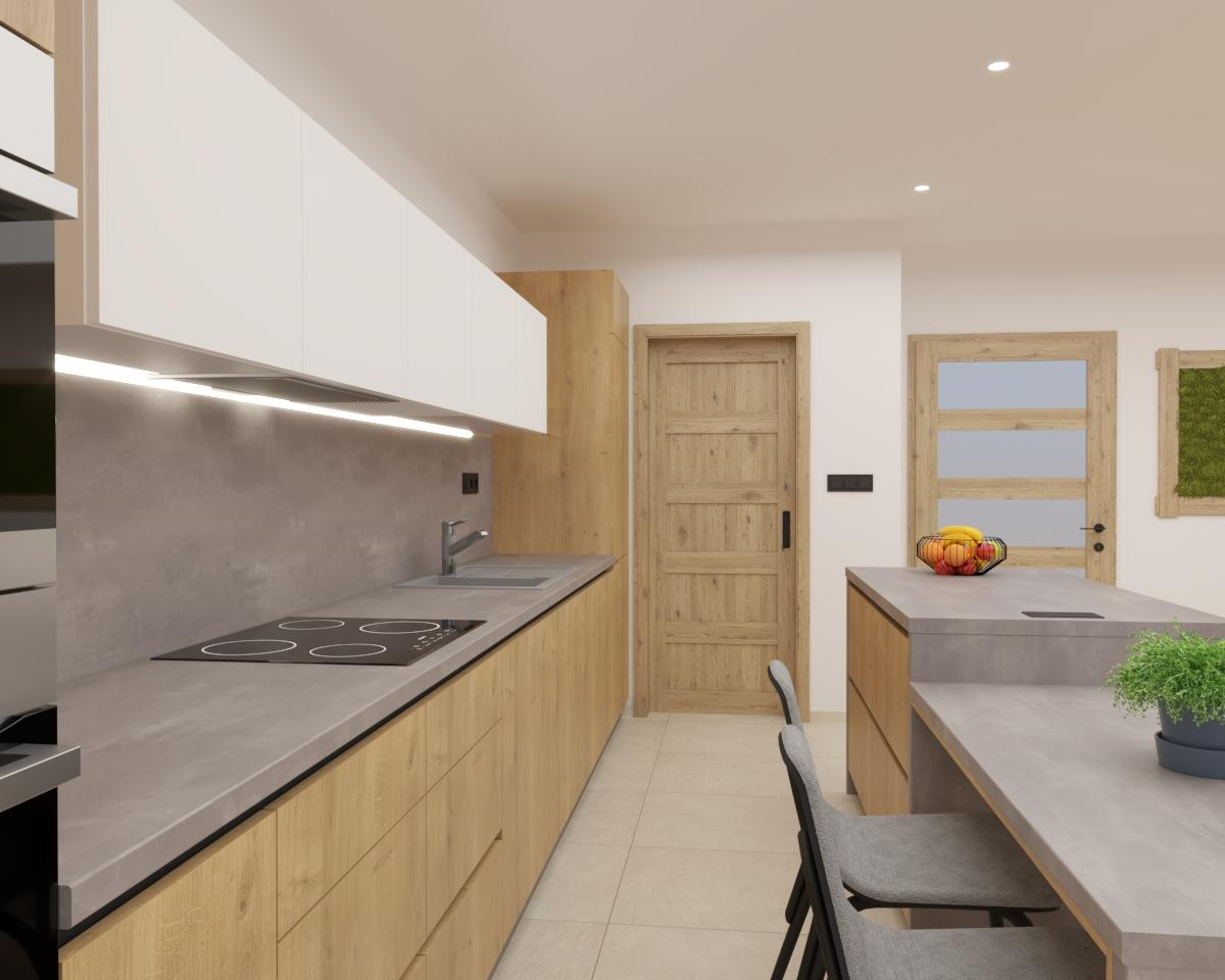 Grafické návrhy kuchynských liniek 2021 - Grafický návrh kuchyne spojenej s obývačkou v rodinnom dome-obr.2