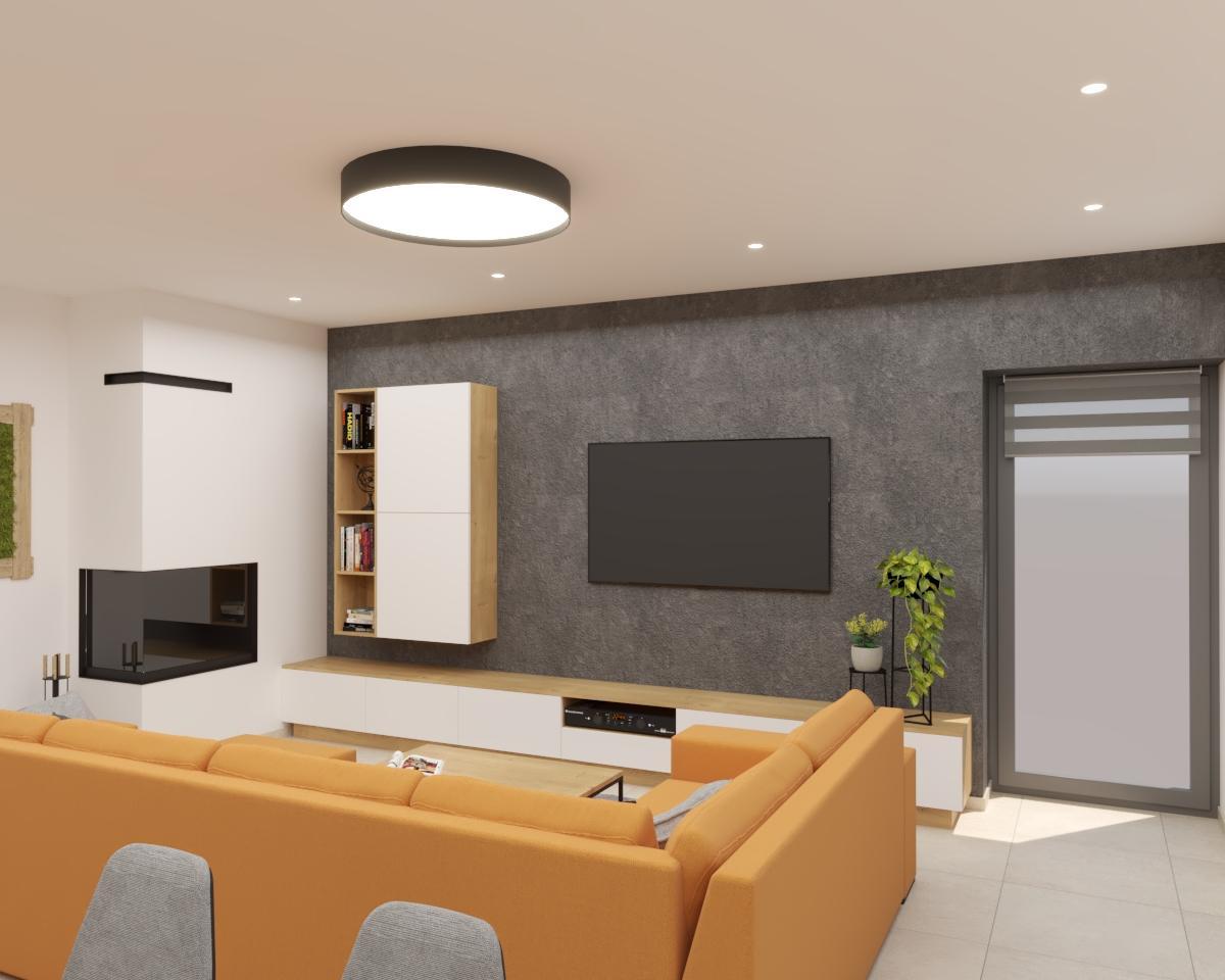 Grafické návrhy kuchynských liniek 2021 - Grafický návrh kuchyne spojenej s obývačkou v rodinnom dome-obr.3