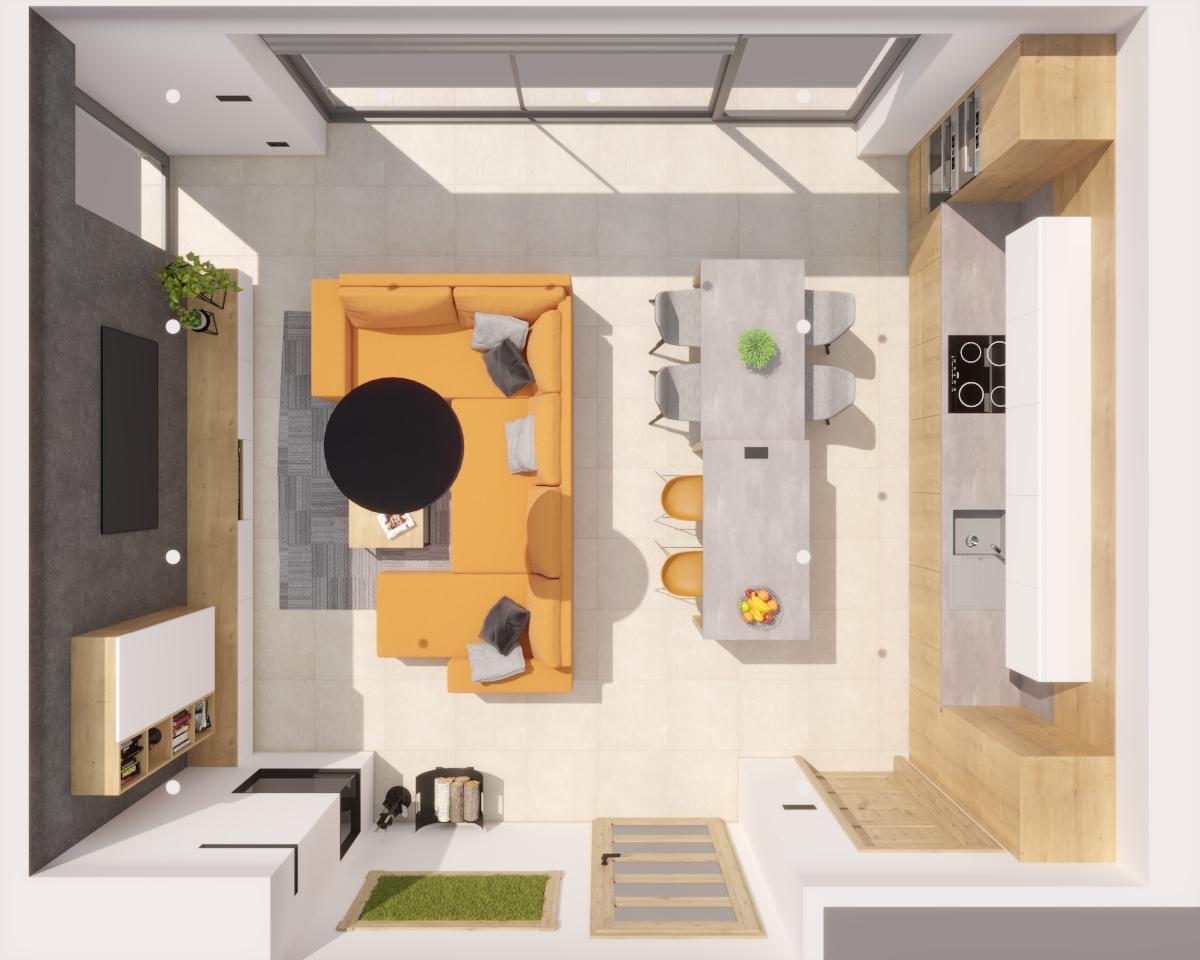 Grafické návrhy kuchynských liniek 2021 - Grafický návrh kuchyne spojenej s obývačkou v rodinnom dome-obr.6