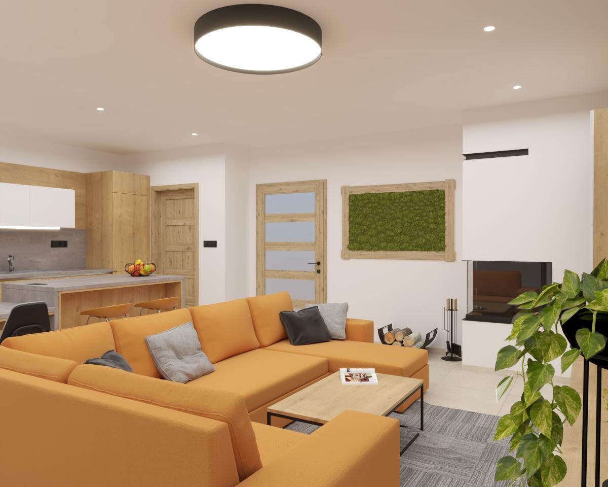 Grafické návrhy kuchynských liniek 2021 - Grafický návrh kuchyne spojenej s obývačkou v rodinnom dome-obr.4