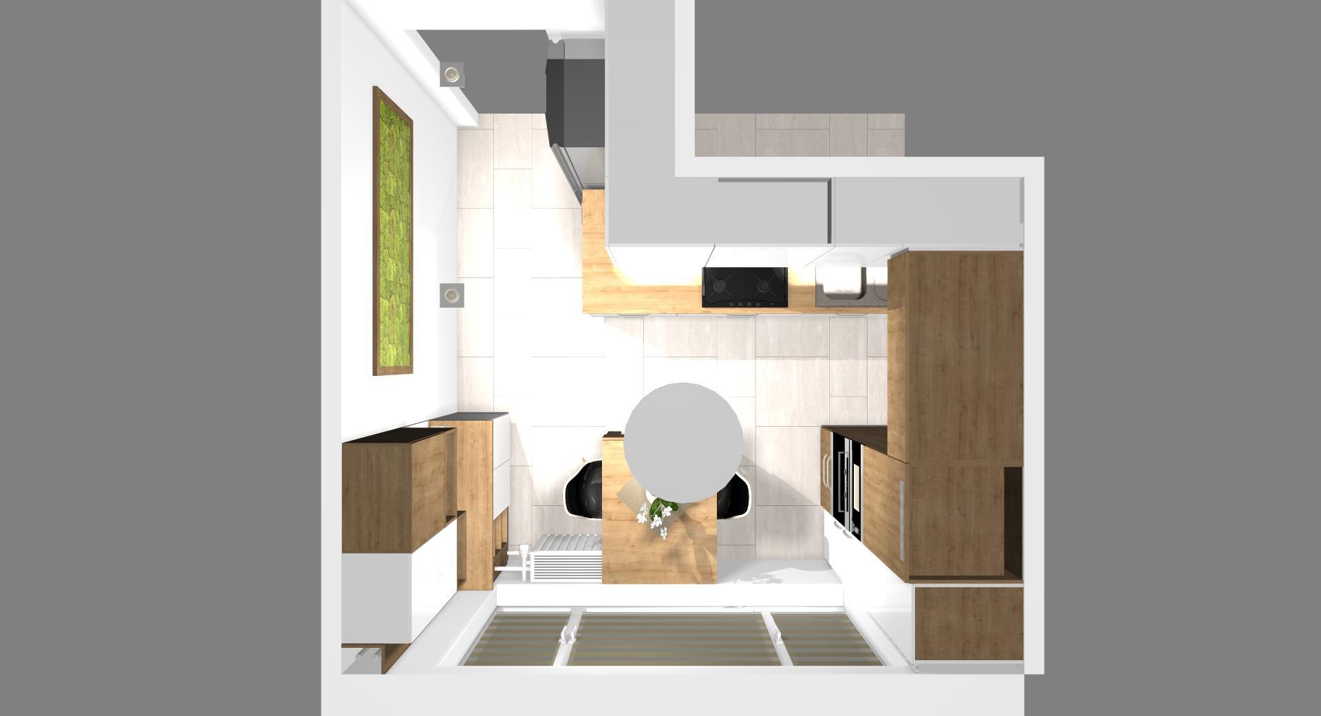 Grafické návrhy kuchynských liniek 2021 - Návrh atypickej kuchyne do paneláku vo Zvolene - obr.8