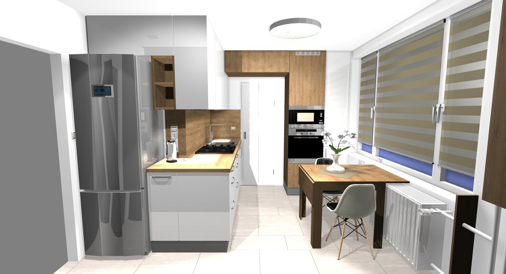 Grafické návrhy kuchynských liniek 2021 - Návrh atypickej kuchyne do paneláku vo Zvolene - obr.2