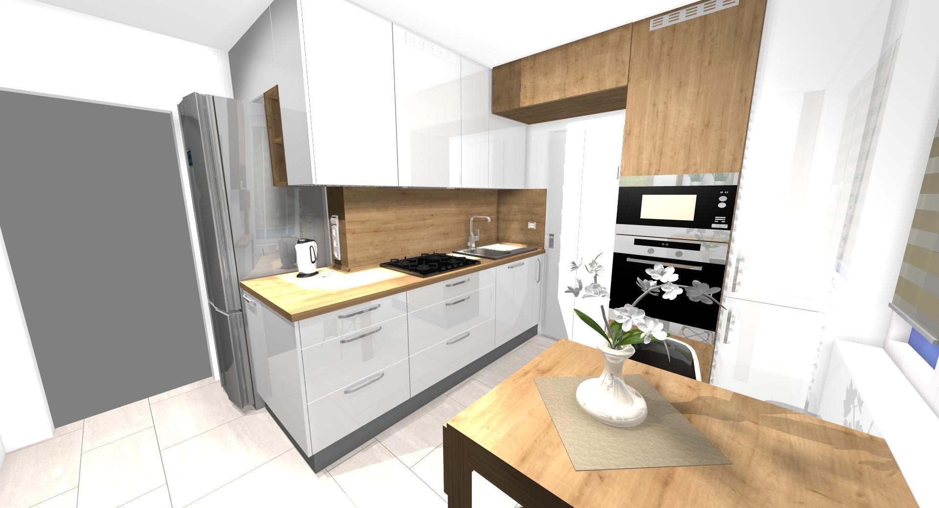 Grafické návrhy kuchynských liniek 2021 - Návrh atypickej kuchyne do paneláku vo Zvolene - obr.1