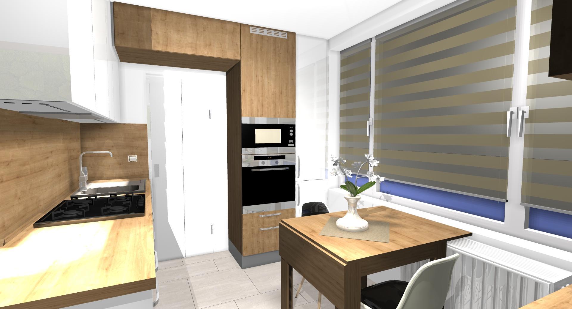 Grafické návrhy kuchynských liniek 2021 - Návrh atypickej kuchyne do paneláku vo Zvolene - obr.4