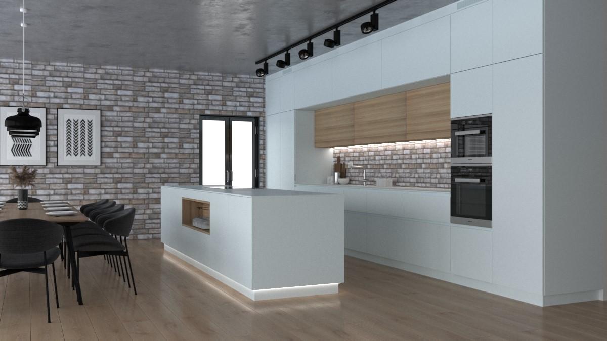 Grafické návrhy kuchynských liniek 2021 - Grafický návrh kuchynskej linky do rodinného domu v bielej matne farbe - obr.1