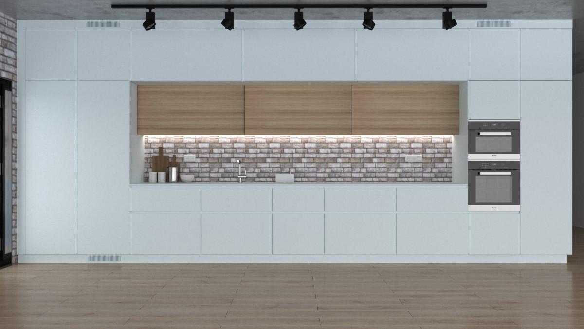 Grafické návrhy kuchynských liniek 2021 - Grafický návrh kuchynskej linky do rodinného domu v bielej matne farbe - obr.2