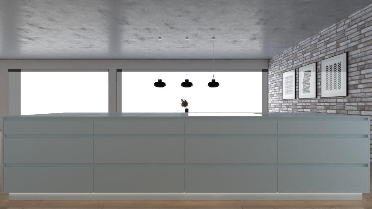 Grafické návrhy kuchynských liniek 2021 - Grafický návrh kuchynskej linky do rodinného domu v bielej matne farbe - obr.5