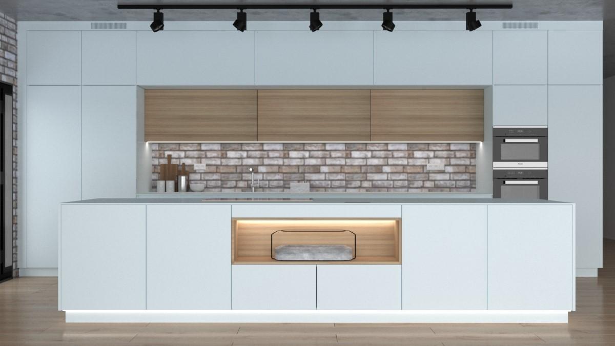 Grafické návrhy kuchynských liniek 2021 - Grafický návrh kuchynskej linky do rodinného domu v bielej matne farbe - obr.3