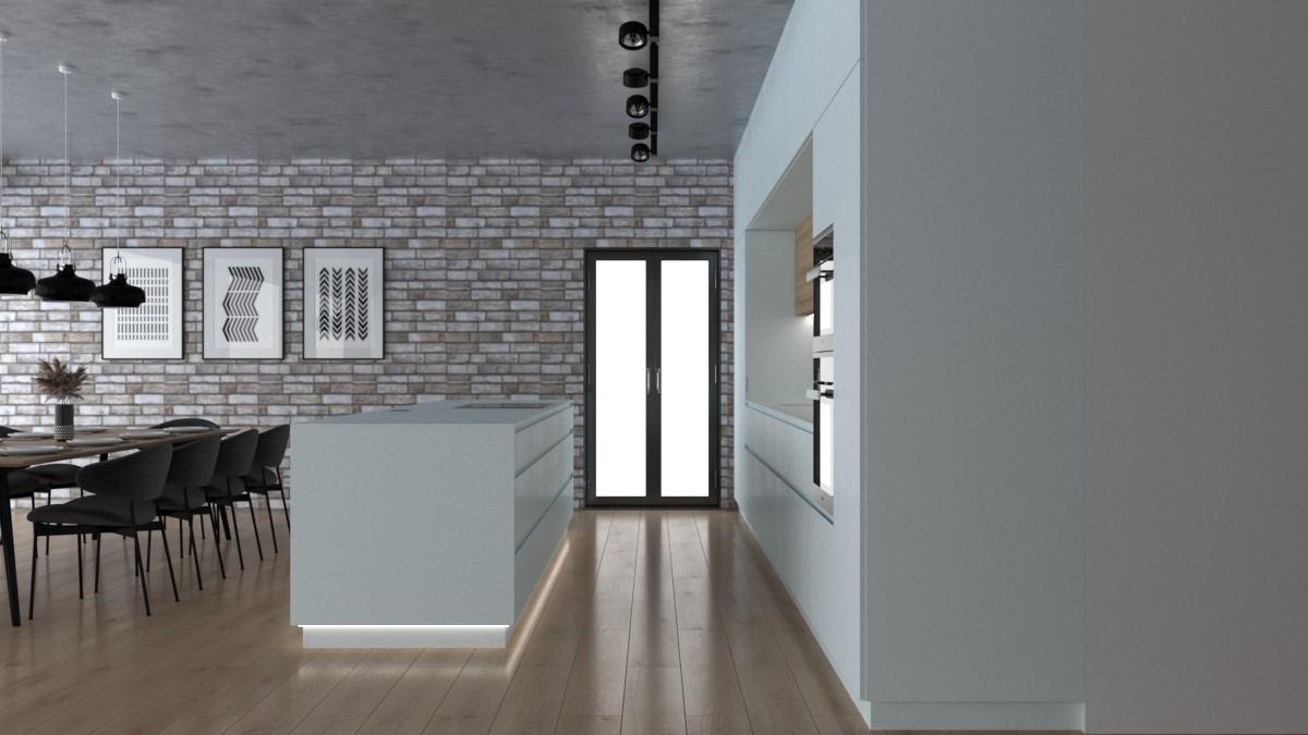 Grafické návrhy kuchynských liniek 2021 - Grafický návrh kuchynskej linky do rodinného domu v bielej matne farbe - obr.4