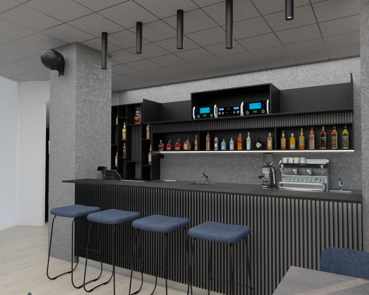 Grafické návrhy interiér 2021 - Grafický návrh kaviarne Bisaudio v BB - obr.2