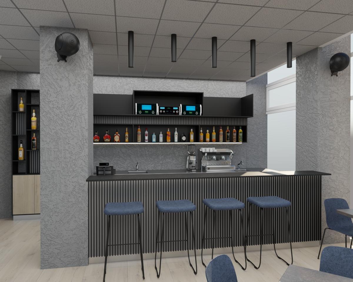 Grafické návrhy interiér 2021 - Grafický návrh kaviarne Bisaudio v BB - obr.1