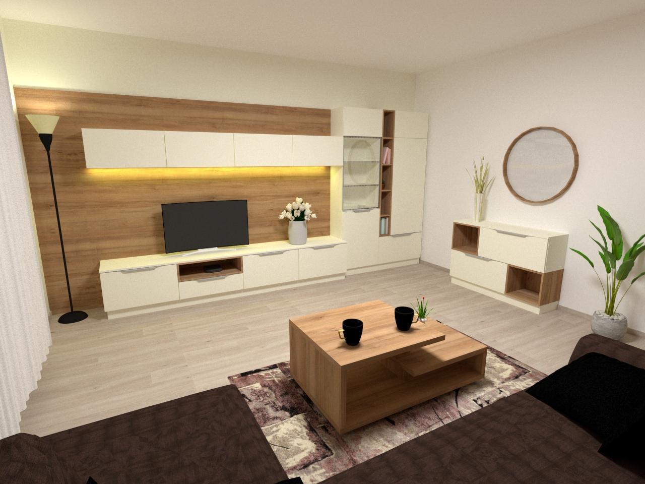 Grafické návrhy interiér 2021 - Grafický návrh obývačky v rodinnom dome v Sáse- obr.1