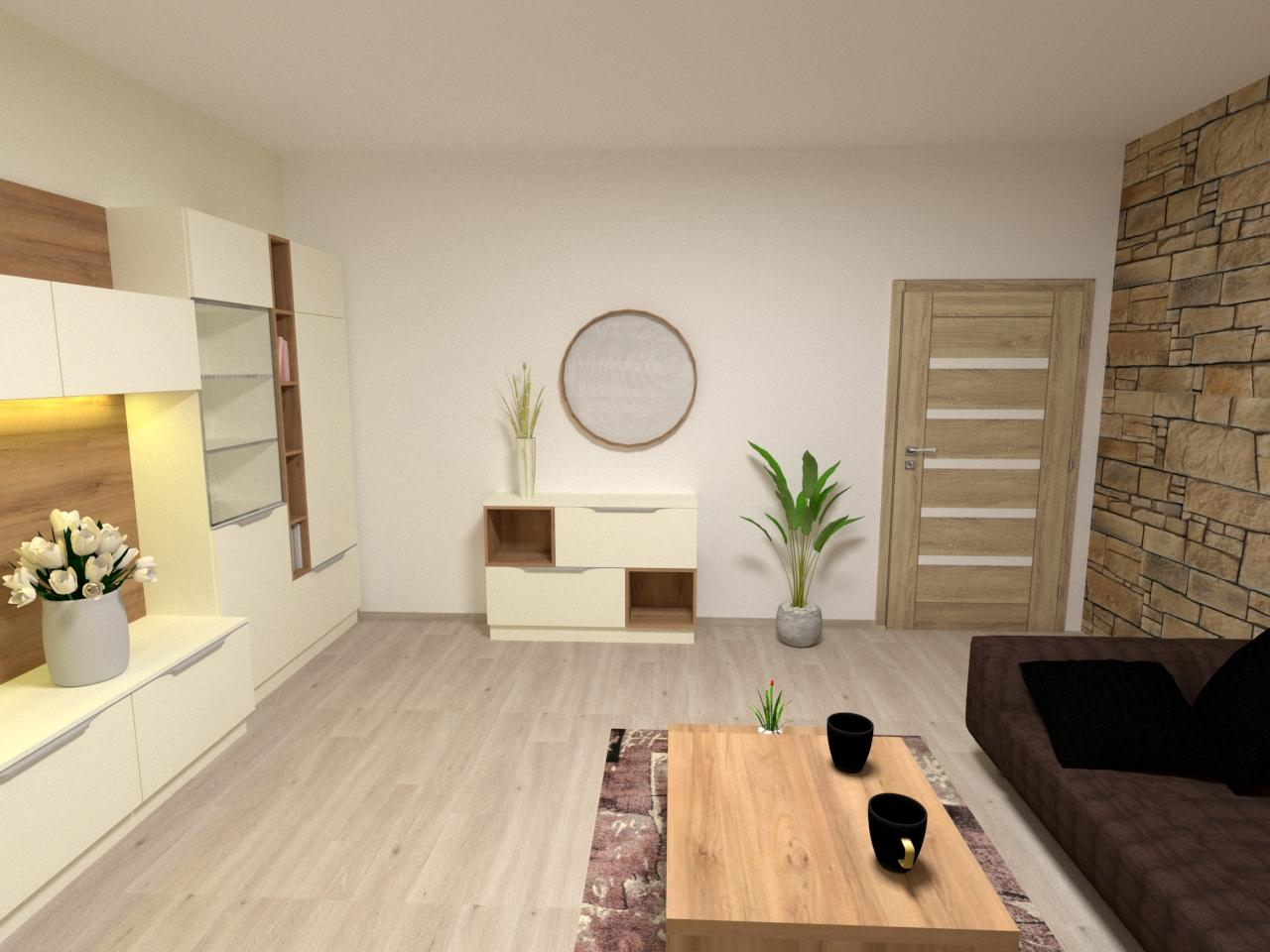 Grafické návrhy interiér 2021 - Grafický návrh obývačky v rodinnom dome v Sáse- obr.2
