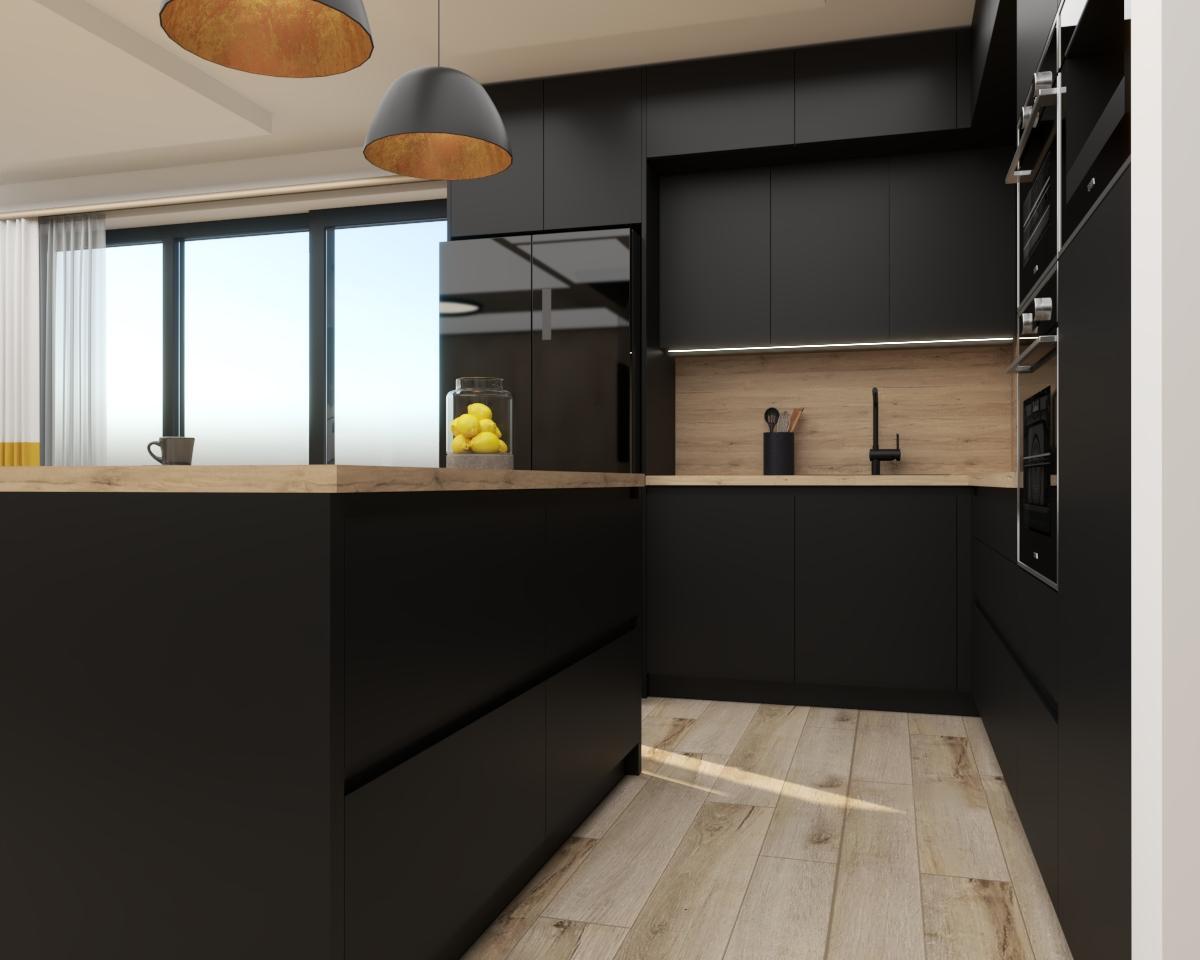 Grafické návrhy kuchynských liniek 2021 - Grafický návrh čiernej matnej kuchyne spojenej s obývačkou do bytového domu v ZV - obr.2