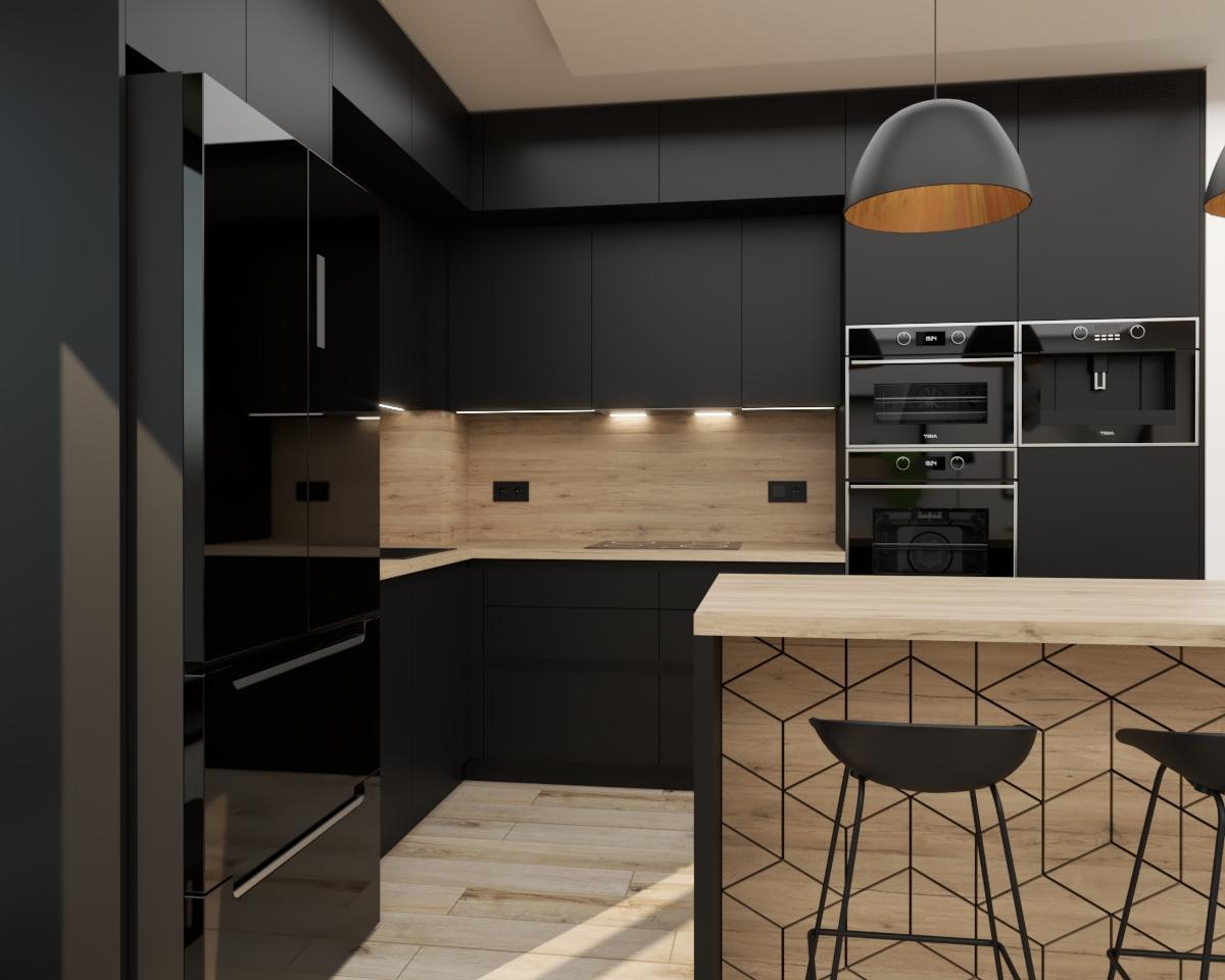 Grafické návrhy kuchynských liniek 2021 - Grafický návrh čiernej matnej kuchyne spojenej s obývačkou do bytového domu v ZV - obr.3