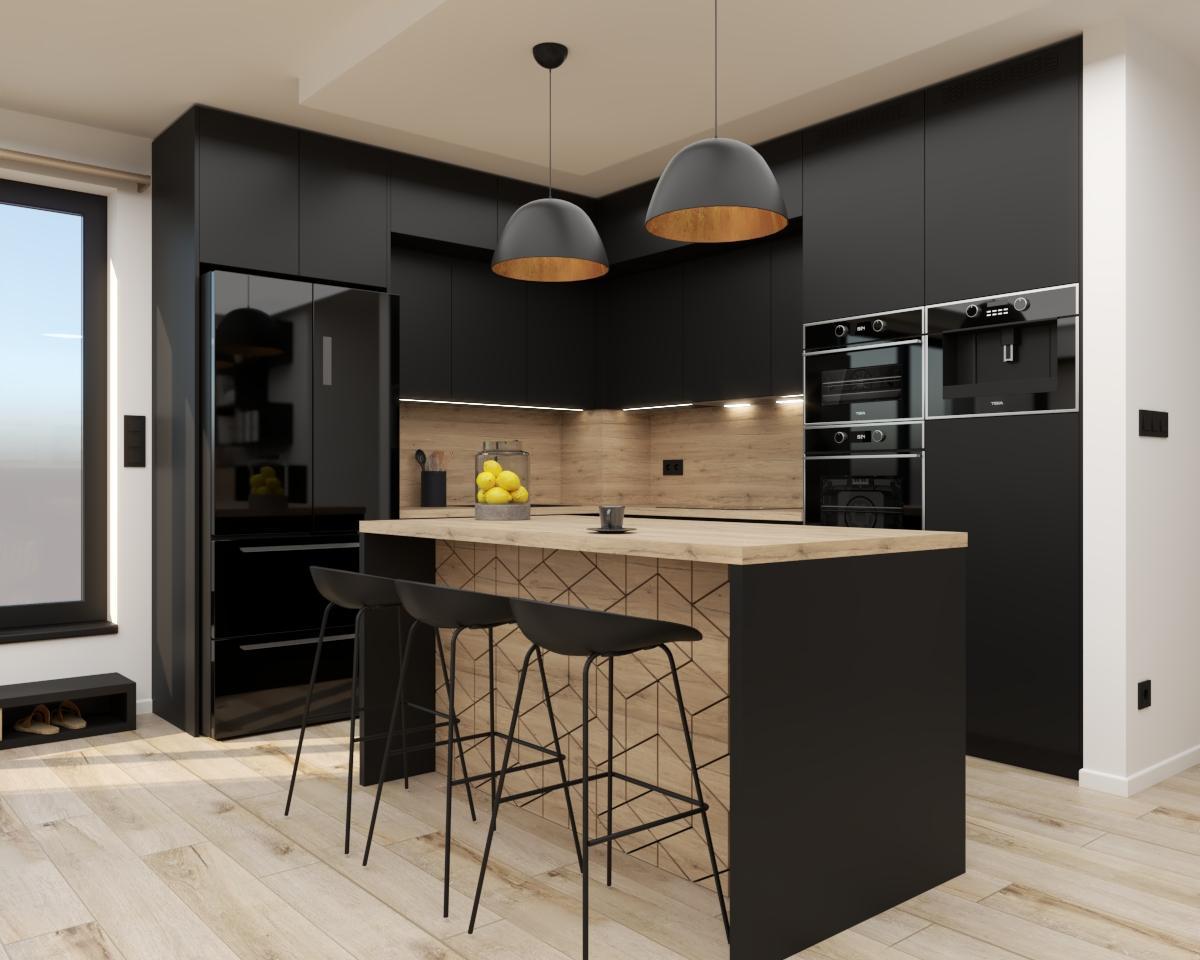 Grafické návrhy kuchynských liniek 2021 - Grafický návrh čiernej matnej kuchyne spojenej s obývačkou do bytového domu v ZV - obr.1