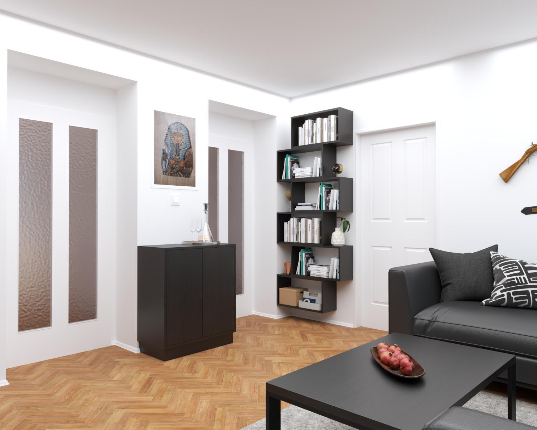 Grafické návrhy interiér 2021 - Grafický návrh obývačky do paneláku v BB - obr.2