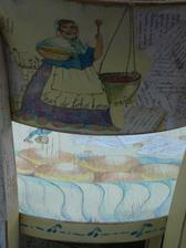 ...pokreslené opěradlo s Majdalénou a taky jeden literární hrdina ( na dobročinnou aukci )