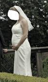 Saténové svatební šaty, možno i těhotenské, 44