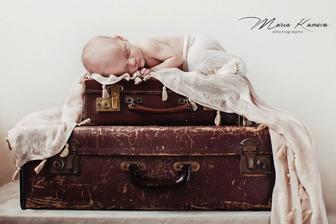 Takto sme este raz vyuzili nase stare kufre zo svadobnej vyzdoby... Nasa dcerka Amelie nar. 7.6.2014