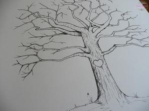 Svatební strom pro otisky prstů jako listů všech svatebčanů - ručně malované tuží