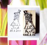 Svatební č. 17. omyv. razítko, 2,7 - 3,5 (dle písma) x 6,5 cm, 244,-