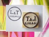 Kulaté svatební s iniciály... Omyvatelné razítko, 4,1 x 4,1 cm, 244,-