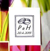 Svatební č. 29 se změnou rámečku. Omyvatelné razítko, 3,1 x 3,9 cm, 166,-