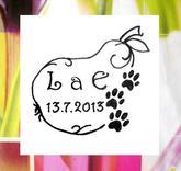 Svatební hruštička s tlapičkami, omyvatelné razítko, 4,5 x 4,2 cm, 244,-