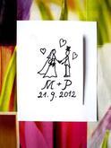 Svatební za ruce... Omyvatelné razítko, 3 x 4,6 cm, 155,-
