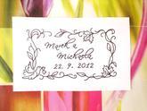 Vintage svatební rámeček se jmény a datem, omyv. razítko, 8,5 x 4,6 cm, 377,-
