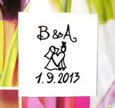 Svatební č. 3 s iniciály a datem, omyv. razítko, 2,5 x 3,8 cm, 144,-