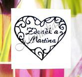 Svatební č. 27 se jmény... Omyvatelné razítko, 4,7 x 4 cm, 199,-
