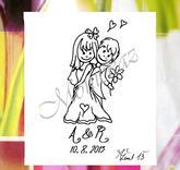 Svatební č. 33 s iniciály a datem, omyv. razítko, 3,7 x 8,6 -9,1 cm. dle písma, 388,-