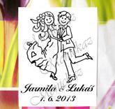 Svatební č. 25 taneční. Omyvatelné razítko, cca 4,9 x 6,7 cm, 390,-