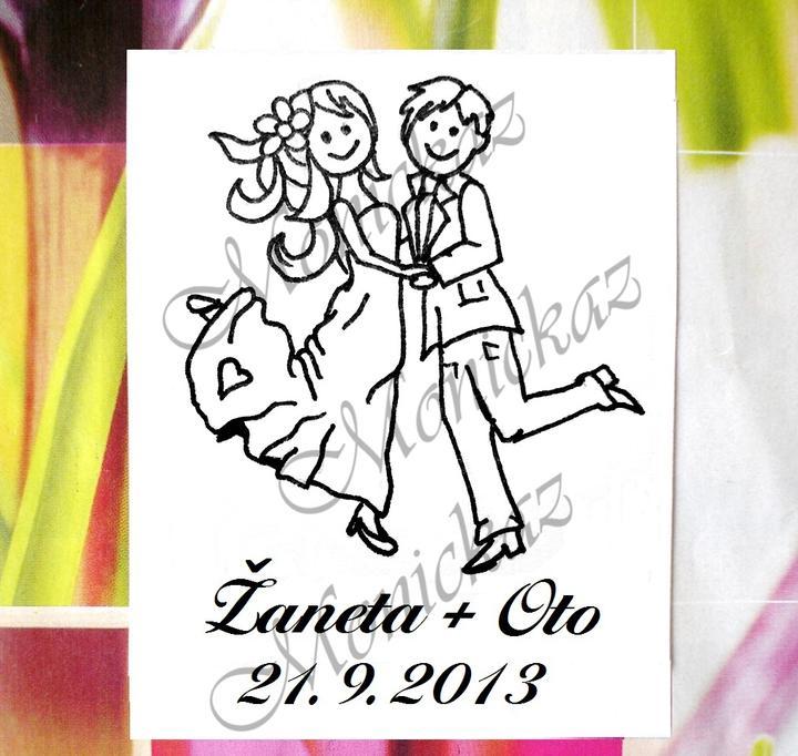 monickaz - Svatební č. 25 taneční. Omyvatelné razítko, cca 4,9 x 6,7 cm, 390,-