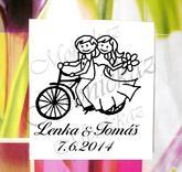 Svatební na kole č. 1. Velikost cca 5,2 x 5,8 cm. (šířka dle písma). Cena na doptání.