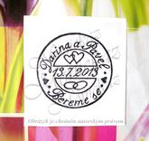 Svatební poštovní razítko... Omyvatelné razítko,  4,2 x 4,2 cm.