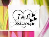 Svatební č.4 srdce se srdíčky, omyvatelné razítko, 4 x 3,2 cm, 188,-