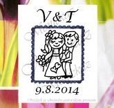 Svatební č. 21 poštovní známka, omyv. razítko, 3,5 x 5,4 cm.