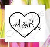 Svatební s iniciály větší... Omyvatelné razítko, 4  x 3,4 cm.