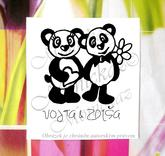 Svatební s pandami č. 1, omyv. razítko, 5 x 5,8 cm. Cena je i s datem.