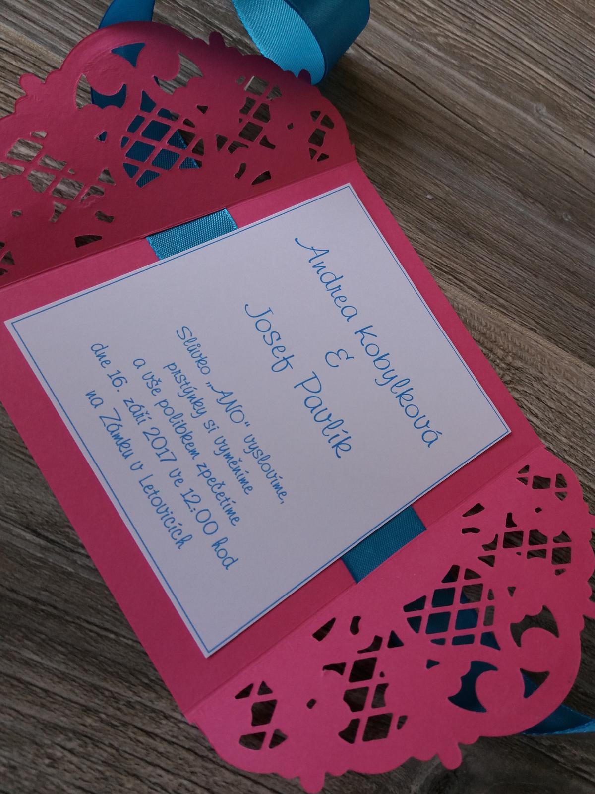 Svatební oznámení 2017 - 34kč +6kč pozvánka ke stolu