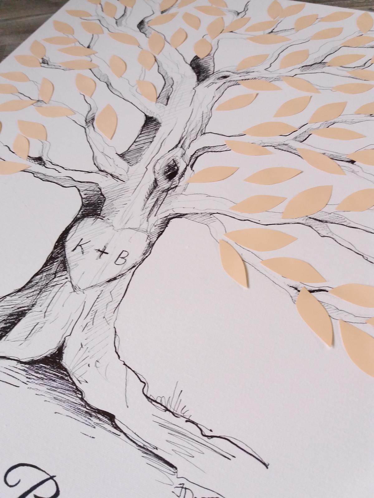 Svatební strom - Zakázka pro nevěstu 600kč 50x 70kč plátno