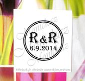 Kulaté svatební s iniciály. Omyvatelné razítko.,
