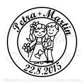 Svatební č. 22 kolečko. Omyvatelné razítko.,